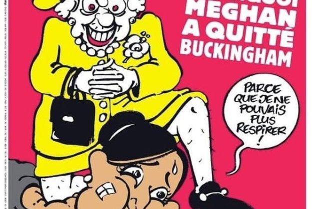 Британська королева «придушила» Меган Маркл на обкладинці Charlie Hebdo
