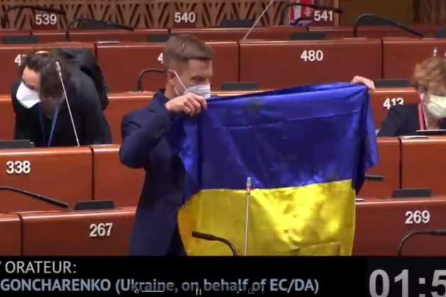 Нардеп Гончаренко розгорнув прапор України у ПАРЄ, очільник Асамблеї пригрозив йому санкціями