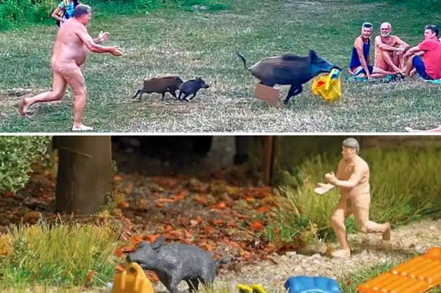 Немца, который голышом бегал за кабаном на берегу озера, «увековечили» в пластиковой фигурке