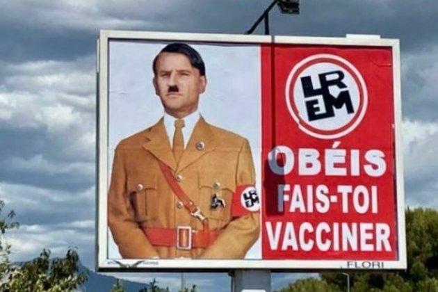 У Франції автора плаката, який зобразив Макрона в образі Гітлера оштрафували на €10 тис.