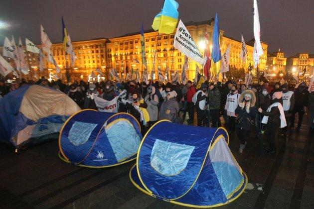 Акція «SaveФОП» на Майдані. Активісти кажуть, що силовики травмували двох із них, поліція звітує про трьох поранених правоохоронців