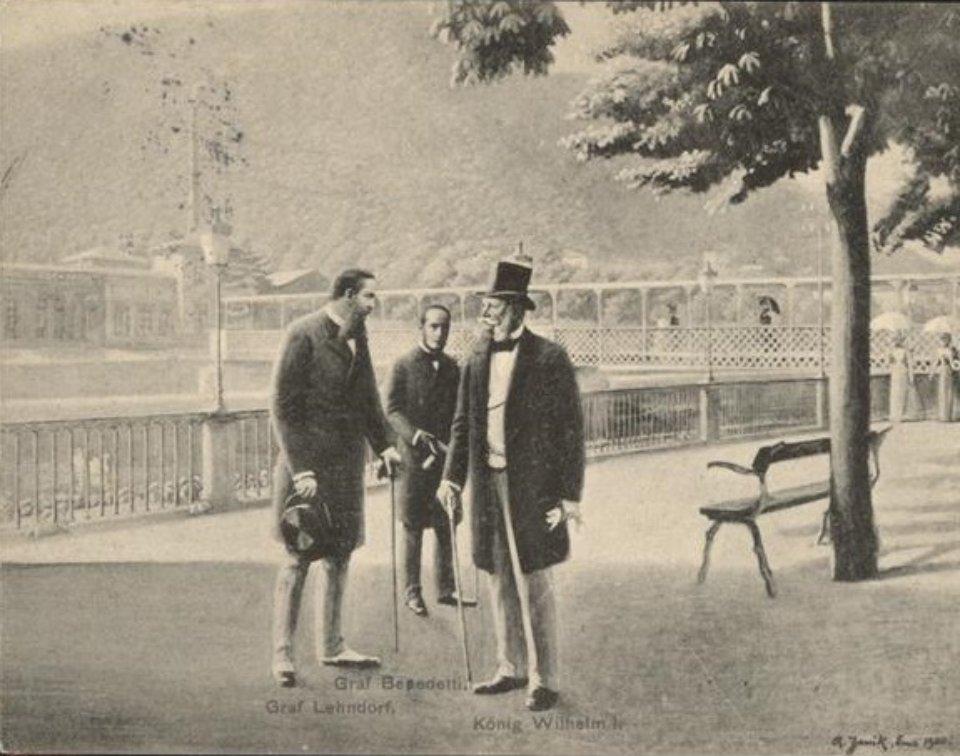 Вінсент Бенедетті (зліва) та Вільгельм І (справа) в Бад-Емсі. Французька листівка