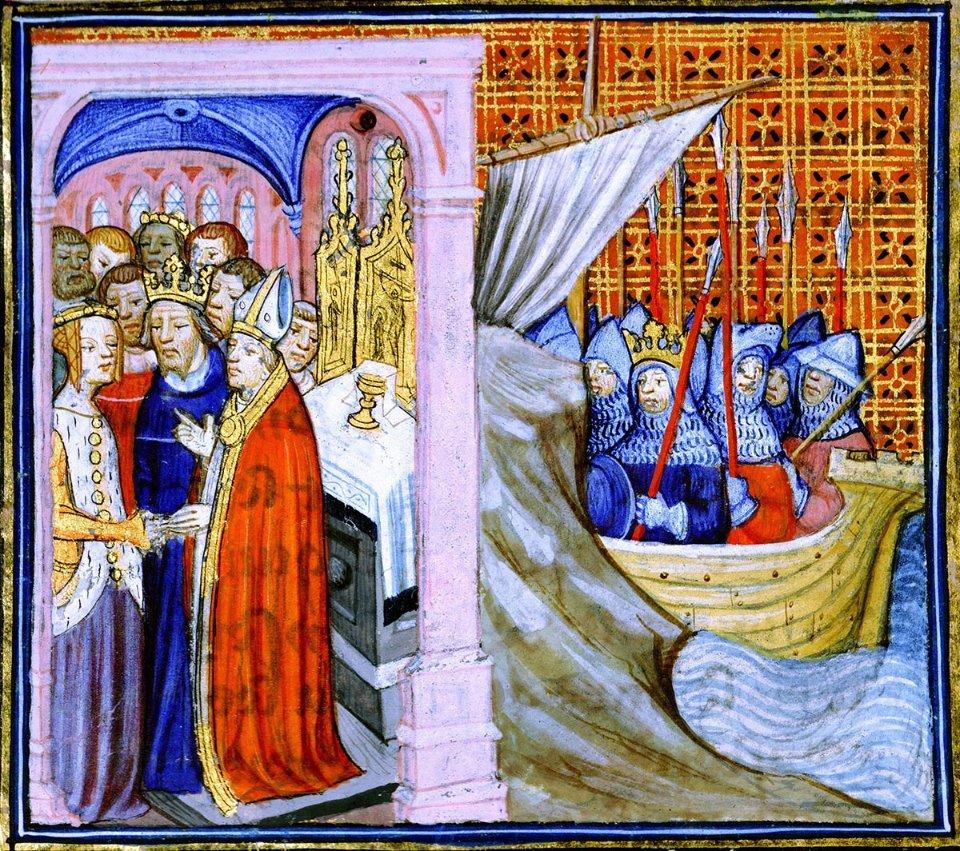 Мініатюри з «Хроніки Сен-Дені». Зліва — одруження Елеонори та Людовіка. Справа — король вирушаєу хрестовий похід / GettyImages