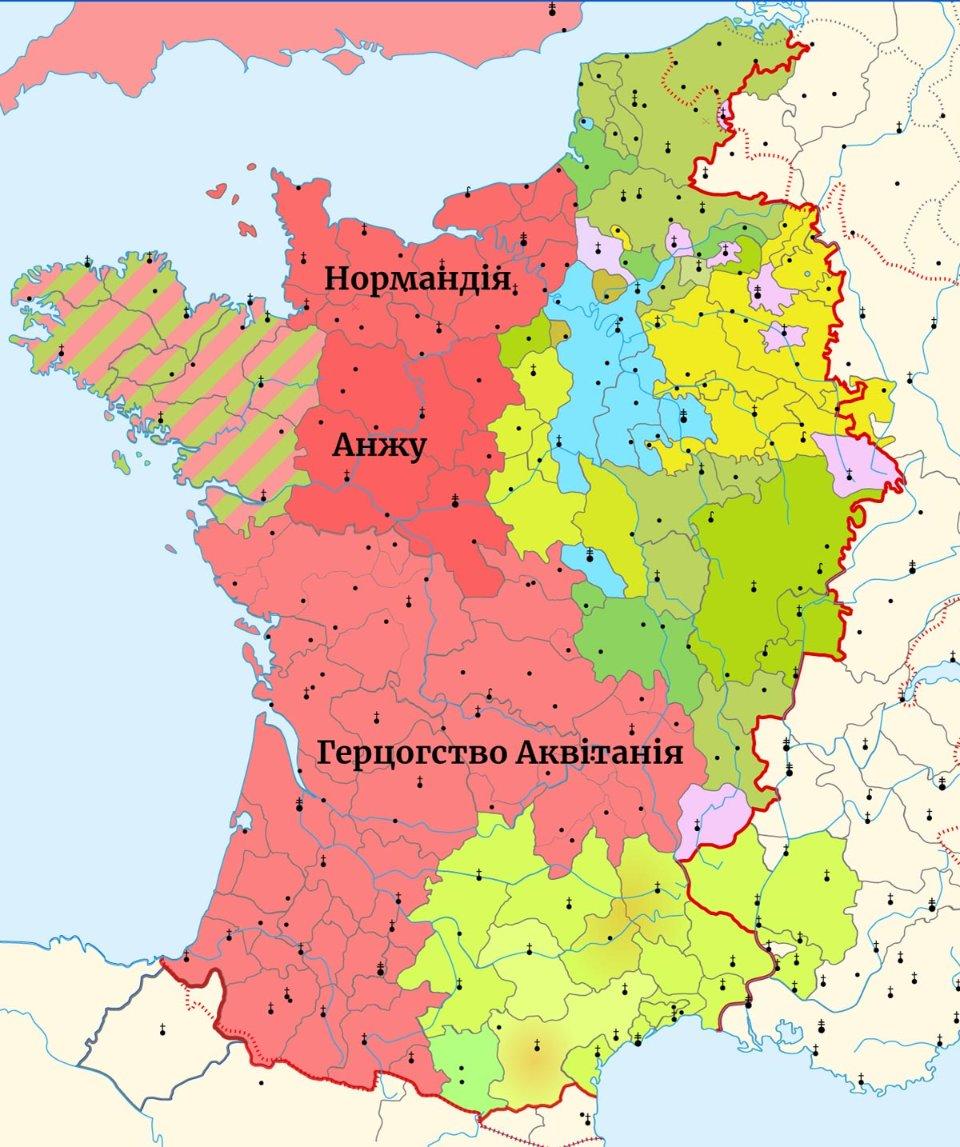 Франція в 1180 році. Відтінками червоного показані володіння ГенріхаIIПлантагенета (рожевим — герцогство Аквітанія). Блакитним — королівський домен Людовіка VII