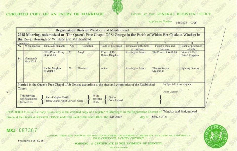 Копія свідоцтва про шлюб принца Гаррі і Меган Маркл / The Sun