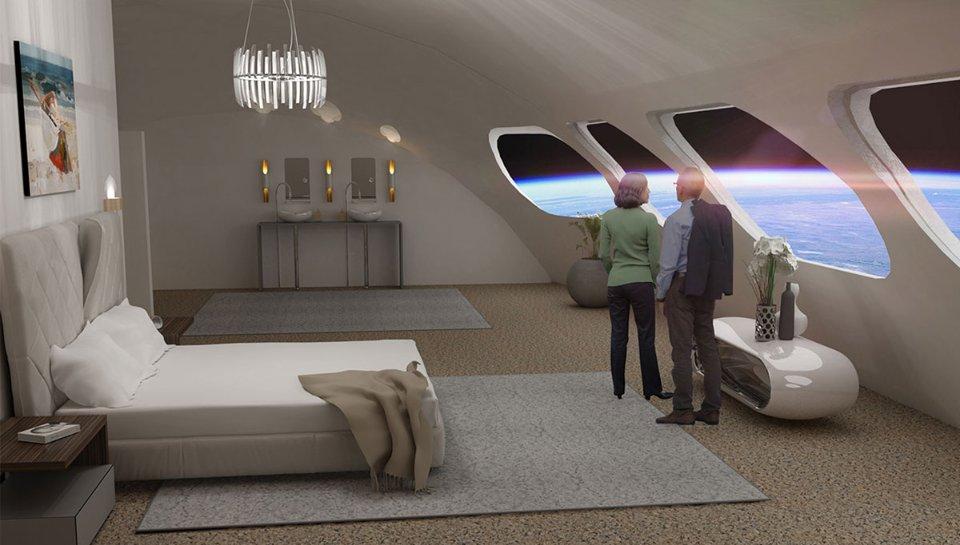 Інтер'єр номера у орбітальному готелі