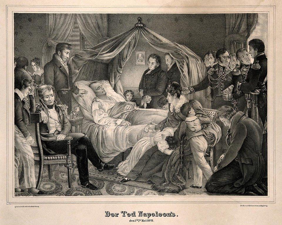 Смерть Наполеона Бонапарта на острові Святої Єлени в 1821 році / Літографія барона Штюбена