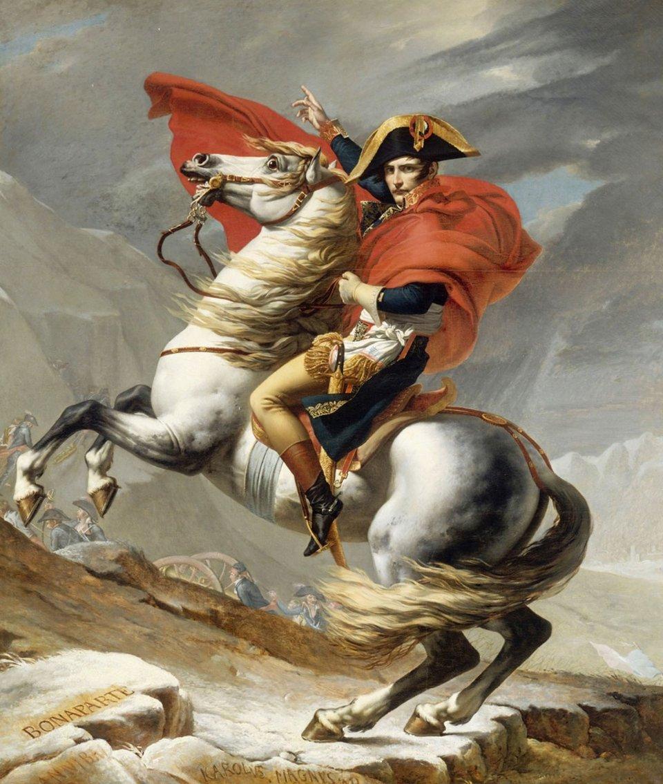 «Бонапарт, що перетинає Сен-Бернар» / Картина Жака-Луї Давіда