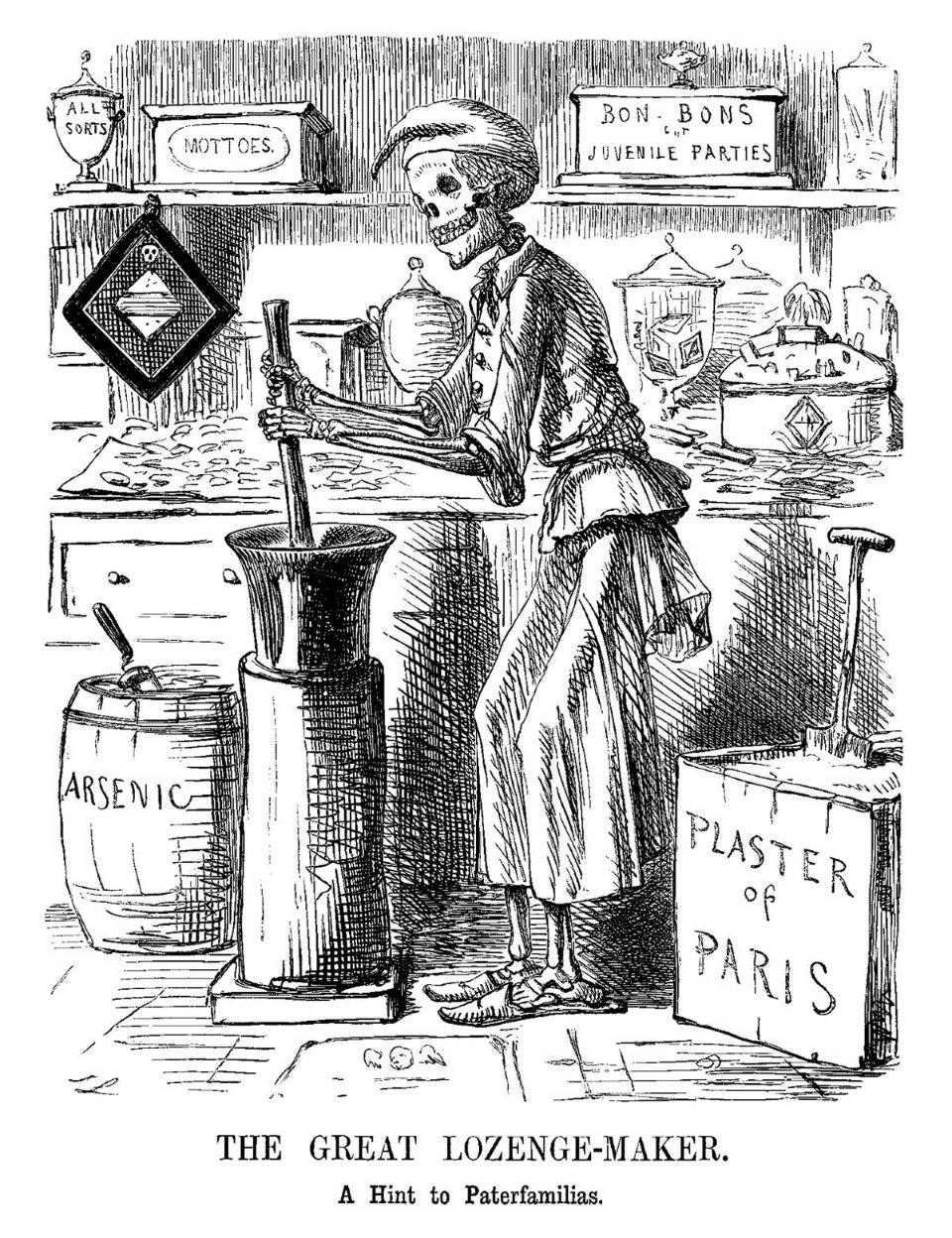 Карикатура 1858 року про отруєння в Бредфорді з англійського сатиричного журналу Punch