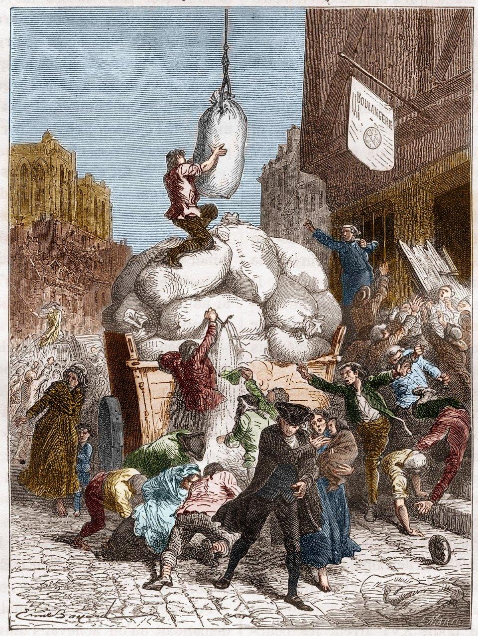Французи б'ються за мішки з зерном. Ілюстрація кінця ХІХ століття / Getty Images