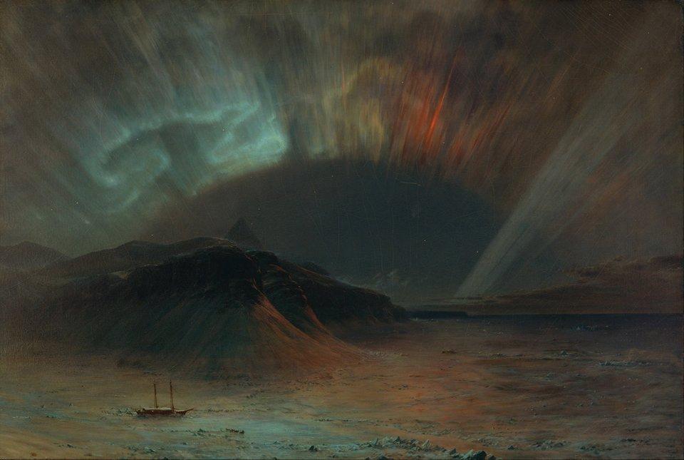 Картина «Полярне сяйво» американського художника Фредеріка Едвіна Черча. Вважається, що для її створення він надихався сяйвами від бурі 1859 року