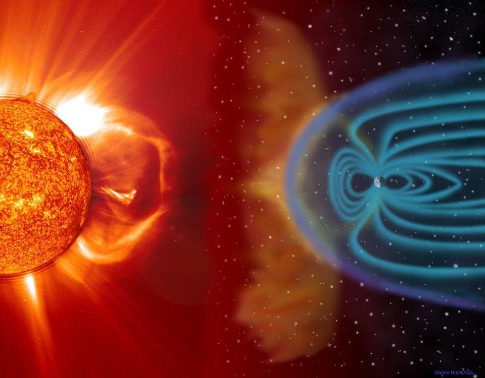 Нашу планету оточує магнітосфера (система магнітних полів), що має форму сльози через вплив сонячного вітру