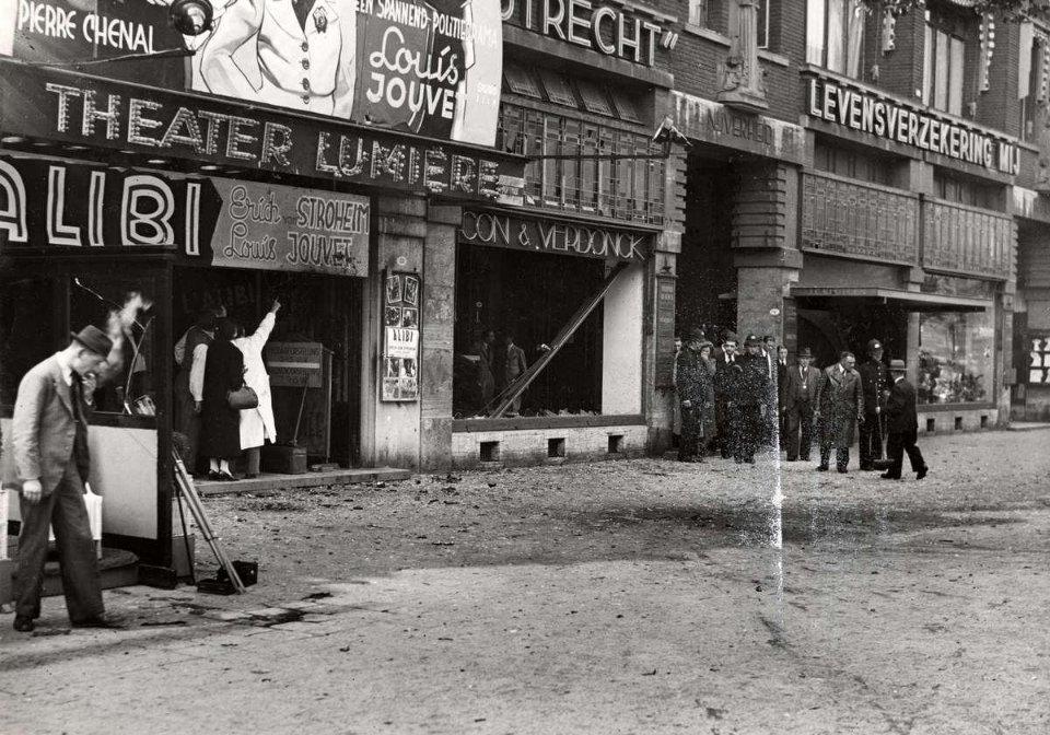 Вулиця Колсінгель в Роттердамі, розгромлена вибухом, від якого загинув Коновалець