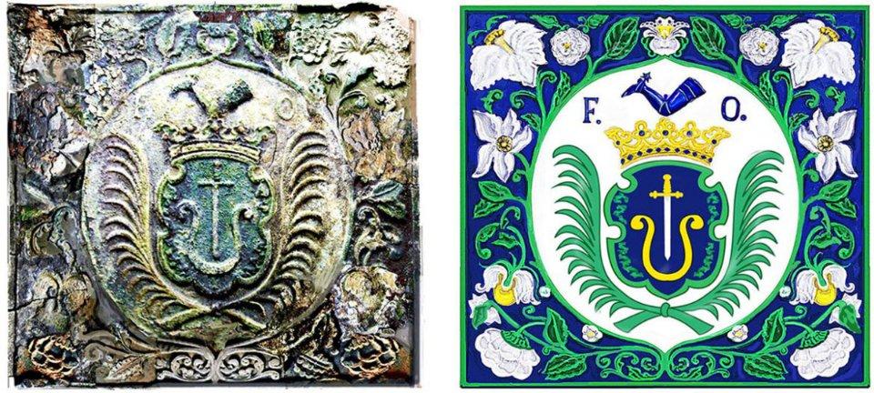 Пічна керамічна кахля з гербом Пилипа Орлика та її сучасна реконструкція