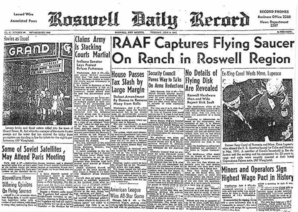 Випуск газети Roswell Daily Record, котрий породив легенду про падіння прибульців в Розуеллі