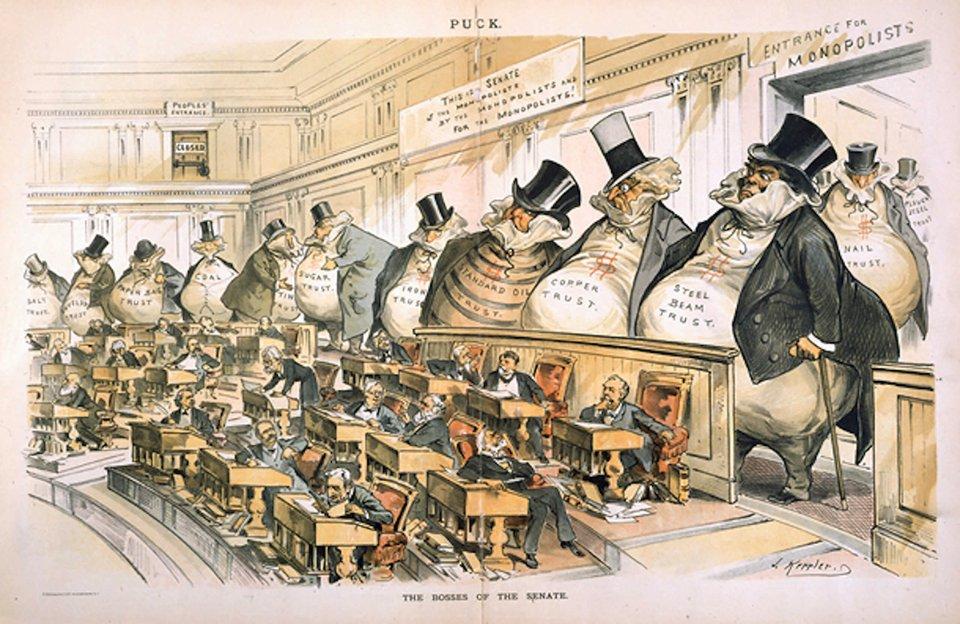 «Боси Сенату». Карикатура 1889 року, яка зображує монополістів, що контролюють американських сенаторів
