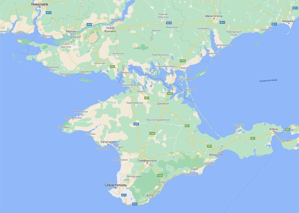 Версія Google зі «спірним» Кримом. Його адміністративний кордон з Херсонською областю позначений пунктирною лінією