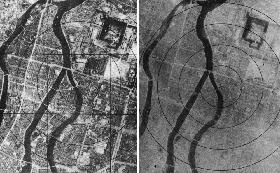 Вид на Хіросіму зверху до бомбардування та після