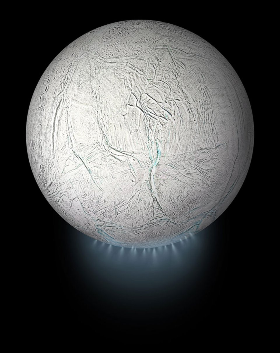 Гейзери Енцеладу викидають в космос струмені води, діоксиду вуглецю та інші речовини