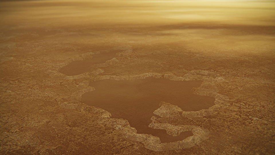 Приблизно так виглядає метанове озеро на Титані
