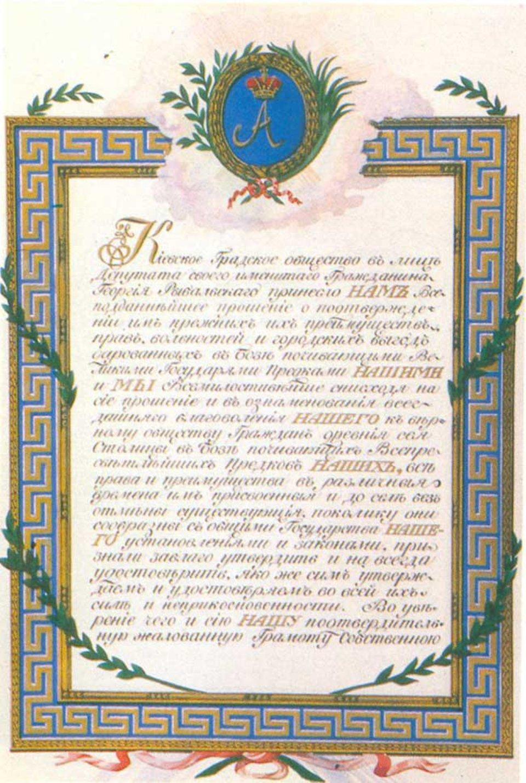 Остання грамота на врядування за магдебурзьким правом, надана Києву імператором Олександром I в 1801 році