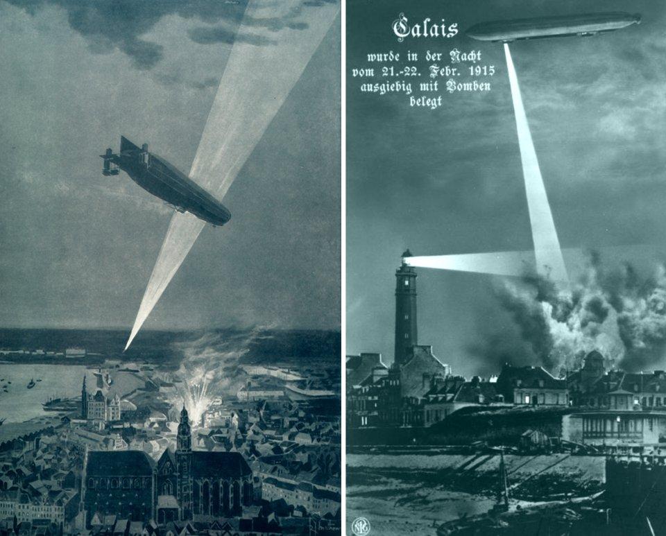 Атаки німецьких цепелінів на Антверпен (зліва) та Кале (справа)
