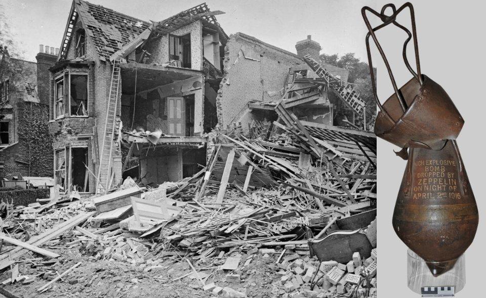 Руйнування в Лондоні після атаки цепелінів, 1916 рік (зліва). Одна з бомб, скинутих на Единбург в 1916 році (справа) / Imperial War Museum