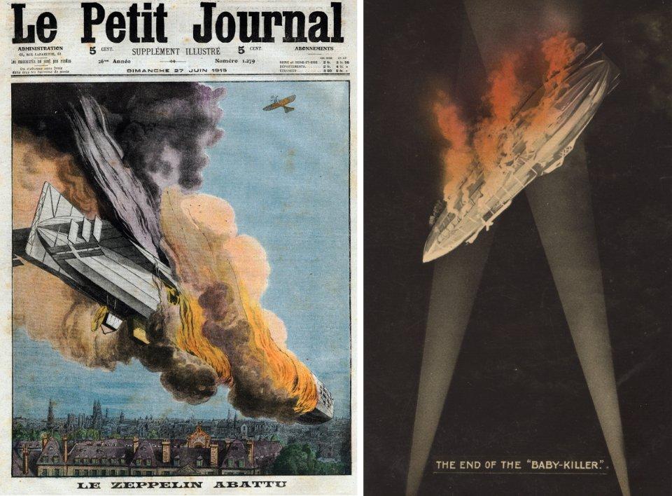 Обкладинка французької газети, присвячена першій успішній атаці британського літака на цепелін (зліва). Британський плакат «Кінець вбивці дітей» (справа)