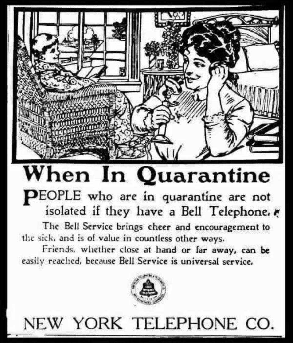 «Коли на дворі карантин». Реклама Bell Telephone під час пандемії іспанки в 1918 році