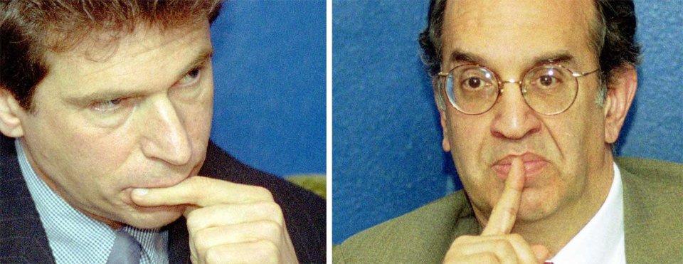 Майкл Черкаський та Роберт Вітеретті під час пресконференції у Києві в 2001 році/УНІАН