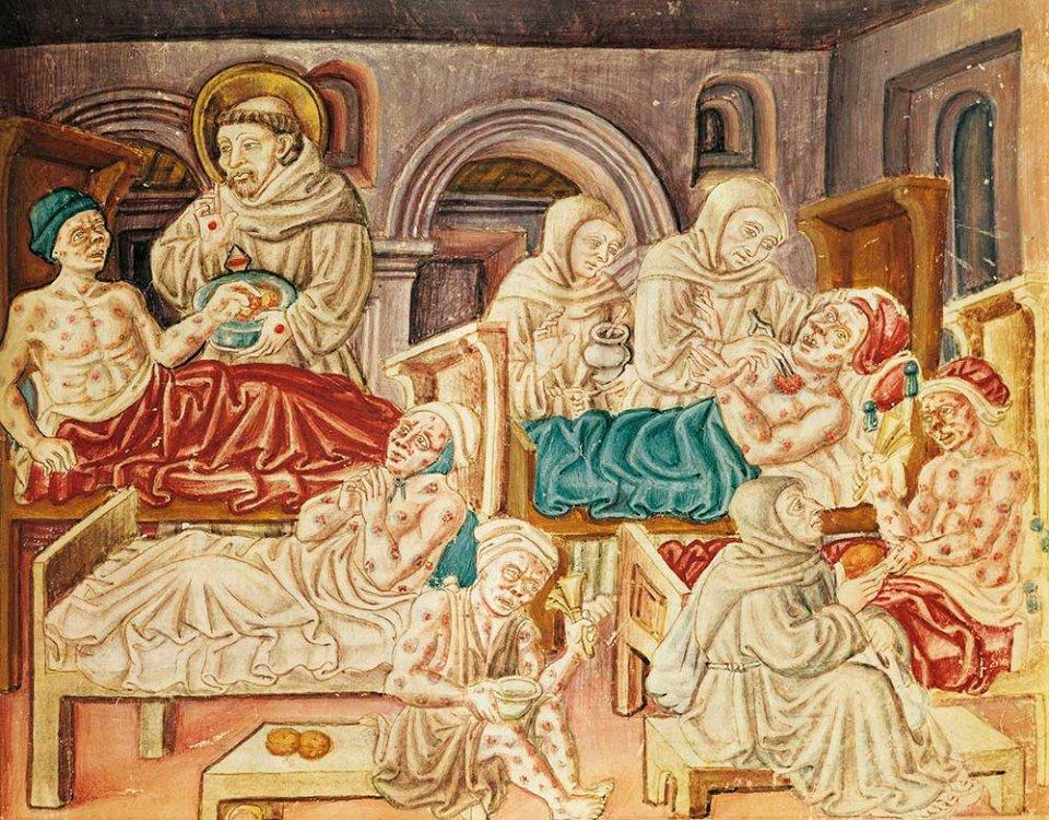 Церква зазвичай стояла на захисті прокажених, але не в 1321 році. Мініатюра з хроніки кінця ХV століття зображує святого Франциска, який надає допомогу хворим
