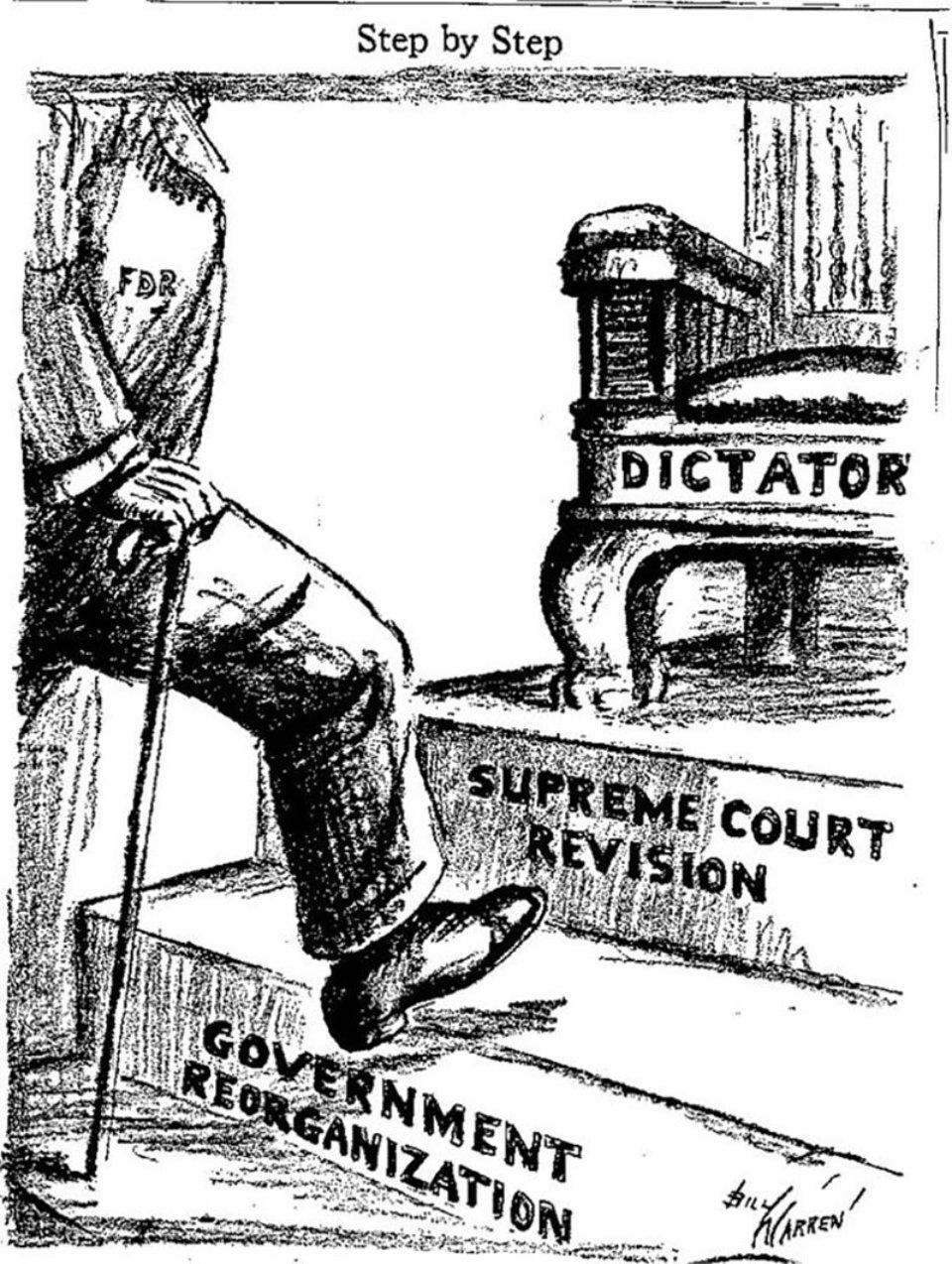 Карикатура 1937 року зображує шлях Рузвельта до диктатури. Друга сходинка — переформатування Верховного суду