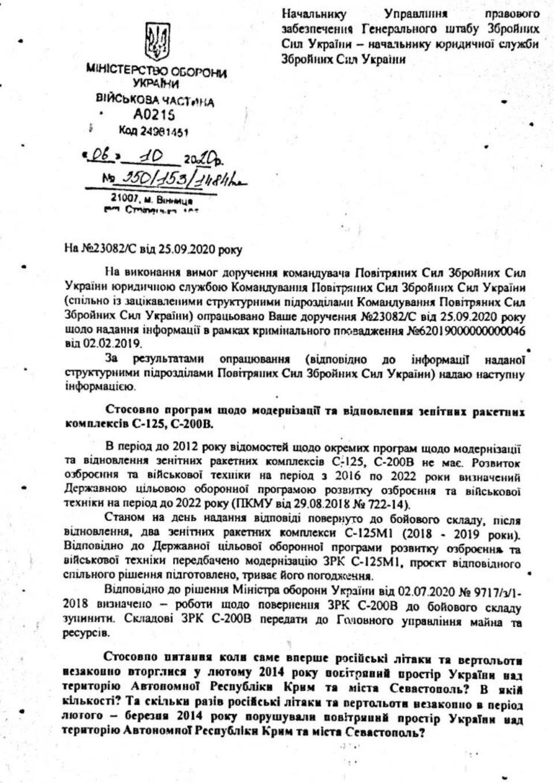 Відповідь Генштабу про знищення документів