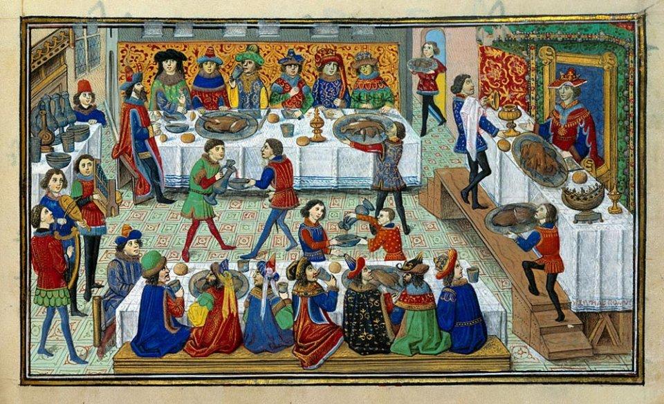 Середньовічне застілля. Мініатюра з французького роману початку XV століття