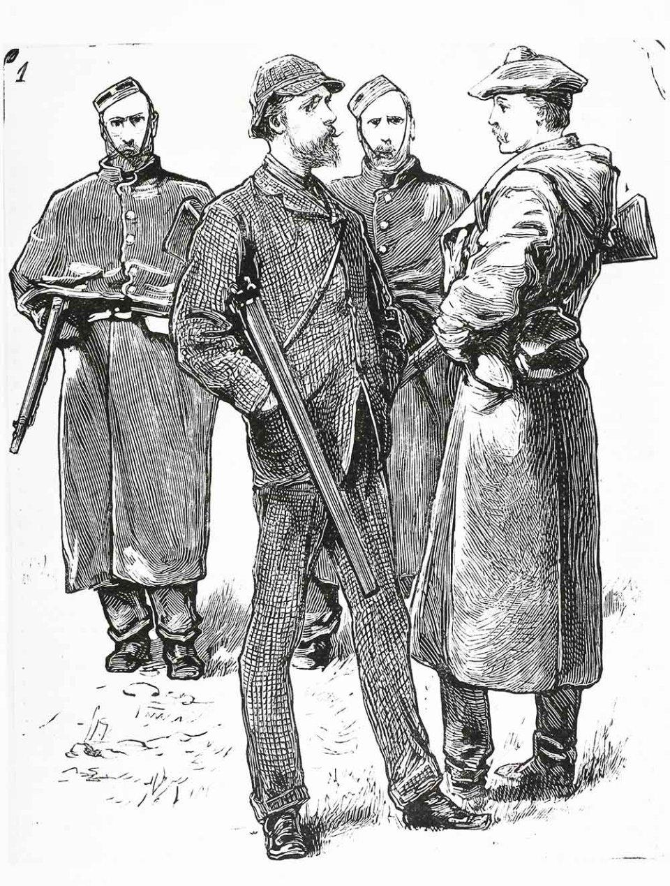 Капітан Бойкот з поліцейським ескортом. Газетна ілюстрація, 1880 рік / GettyImages