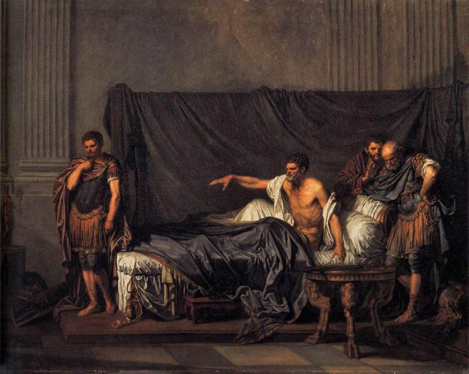 Септимій Север (на ліжку) та його син Каракалла. Картина Жан-Батіста Греза, 1769
