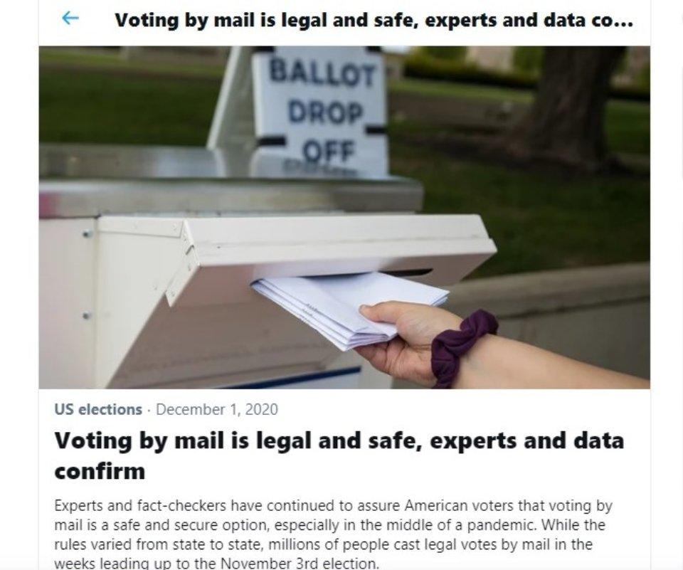 Під твітом Трампа є посилання, за яким можна дізнатися про безпечність процедури голосування поштою / скріншот Chas News